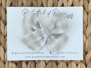 Bone Gingham Linen Evie Bow