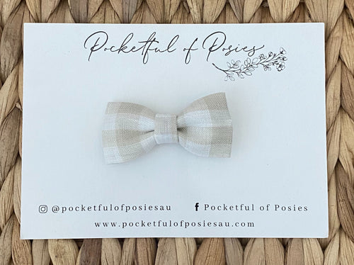 Bone Gingham Linen Posie Bow