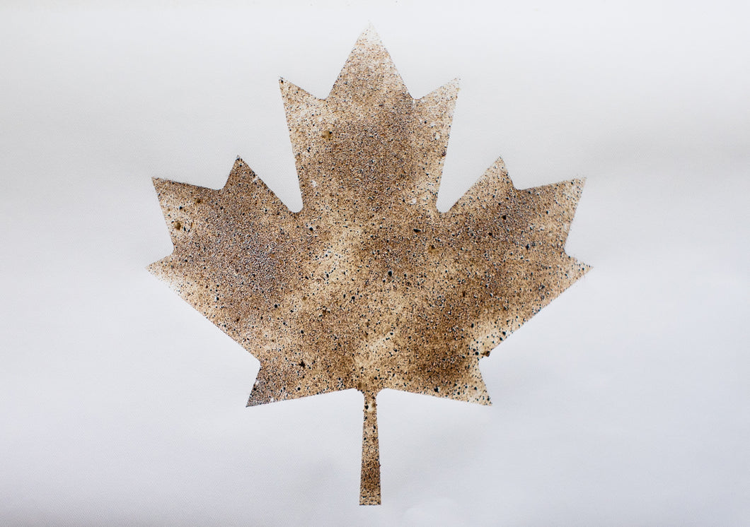 Maple Leaf in Coffee Art - 18 x 24 inches