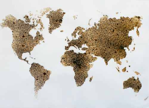 The World Map in Coffee - 18 x 24 inches