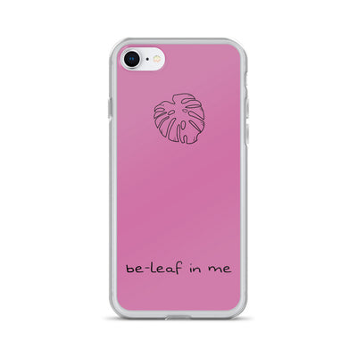 Beleaf in Yourself Monstera Cake Pink iPhone Case - ThepotplantCo