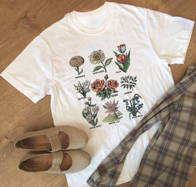 Wildflower Graphic Floral Tee - ThepotplantCo