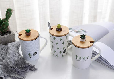 Cactus Cup With Lid & Spoon - ThepotplantCo