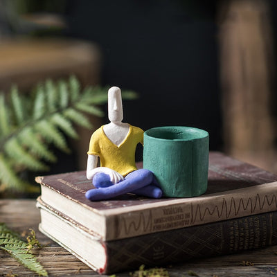 Super Cute Handmade Artist Human Figure Mini Planter Pot