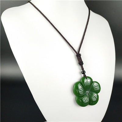 Buy Jade Stone Flower Pendant Necklace