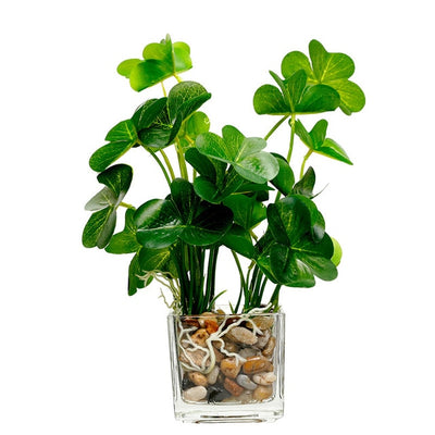 Beautiful All in One Artificial Glass Vase and Plant