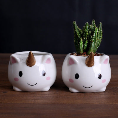 Unicorn Ceramic Flower Pot