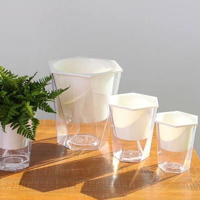 Geometric Transparent Self Watering Pot