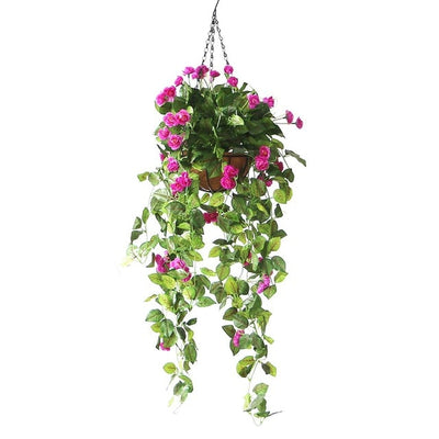 Artificial Rose Plant Hanging Basket