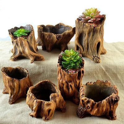Tree stump, wood lookalike organic flower plant pots