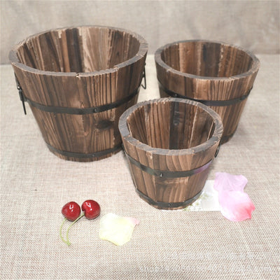 Wine Barrel Wooden Bucket Flower Planter