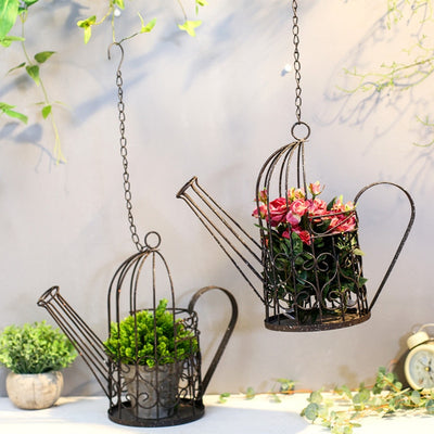 Rose Carnation Hanging Old Iron Watering Pot
