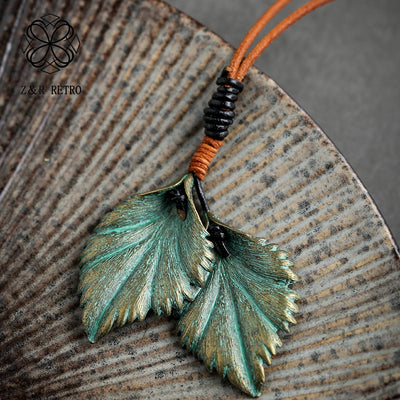 Leather Rope Green Leaf Pendant Necklace - ThepotplantCo