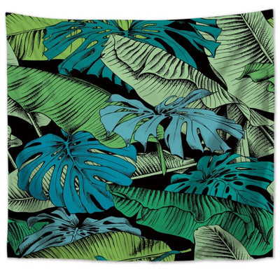 Tropical Plant Print Tapestry Wall Hanging