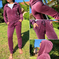 Velour Tracksuit Full Set Zip Closure Hoodie Sweat Pants Jogger With Rhinestones - IREN ABS CRYSTAL