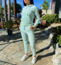 Velour Tracksuit Full Set Zip Closure Hoodie Sweat Pants Jogger Decorated by Premium Colorful Rhinestones Light Green - IREN ABS CRYSTAL