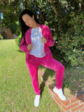 Velour Tracksuit Full Set Zip Closure Hoodie Sweat Pants Jogger With Rhinestones Hot Pink - IREN ABS CRYSTAL