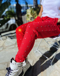 Women's Joggers Oversized Boyfriend Fit with Big Premium Rhinestones, Trouser Pants Sweatpants Red - IREN ABS CRYSTAL