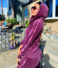 Velour Tracksuit Full Set Zip Closure Hoodie Sweat Pants Jogger With Premium Rhinestones,  Cotton Pants Suit Purple - IREN ABS CRYSTAL