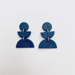 Willow Studs in Navy Glitter