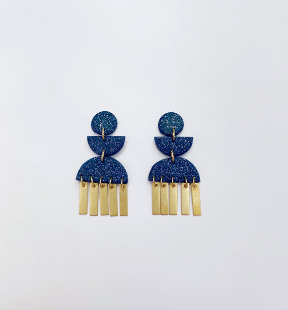 Willow Studs with Brass Drops in Navy Glitter