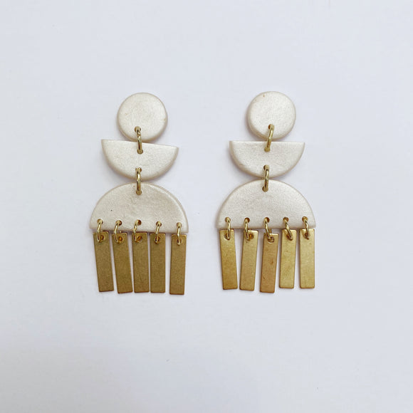 Willow Studs with Brass Drops in Pearl