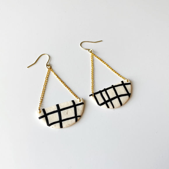Demi Earrings in Cream + Black Plaid