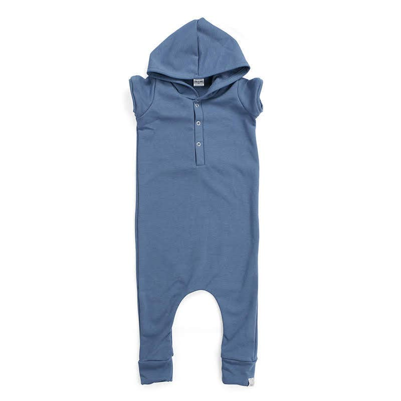Blue Lagoon French Terry Sweatshirt Henley Romper