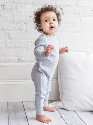 Organic Aspen Long Sleeve Lapped Romper - Heather Grey