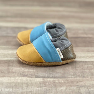 Mustard, Blue, and Gray Angled Moccasins