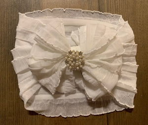 Ruffle headband- Pearls
