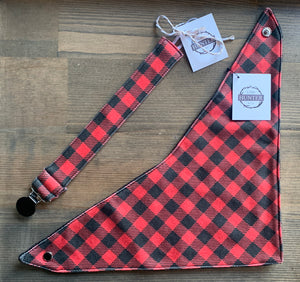 Organic Cotton Soother Clip-Red Plaid