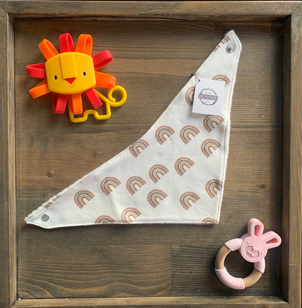 Organic Cotton Bib- Small Scattered Spice and Stone Linen Rainbow