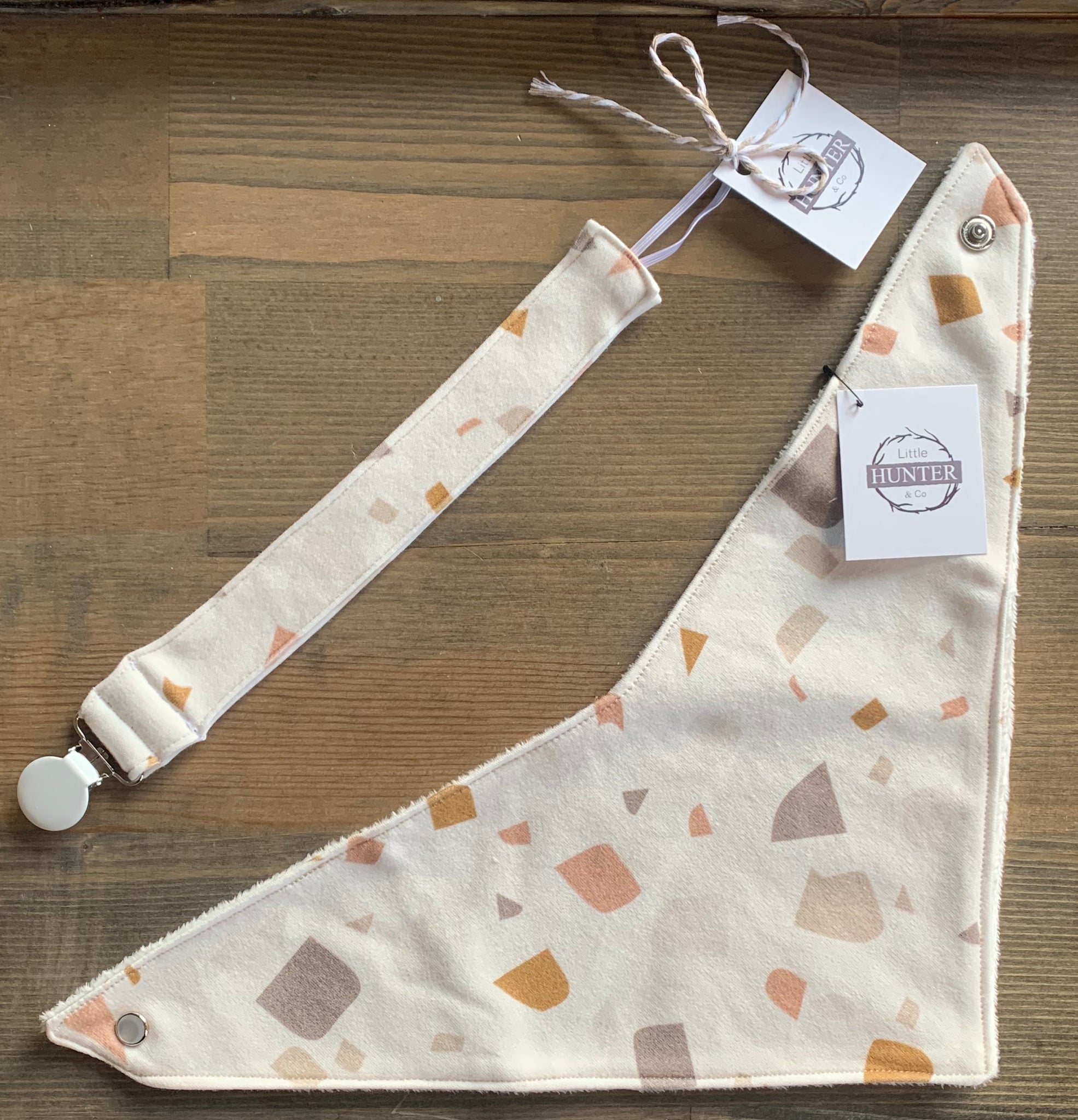 Organic Cotton Bib- Terrazzo in Spice, SugarSand, Mud and Bronze