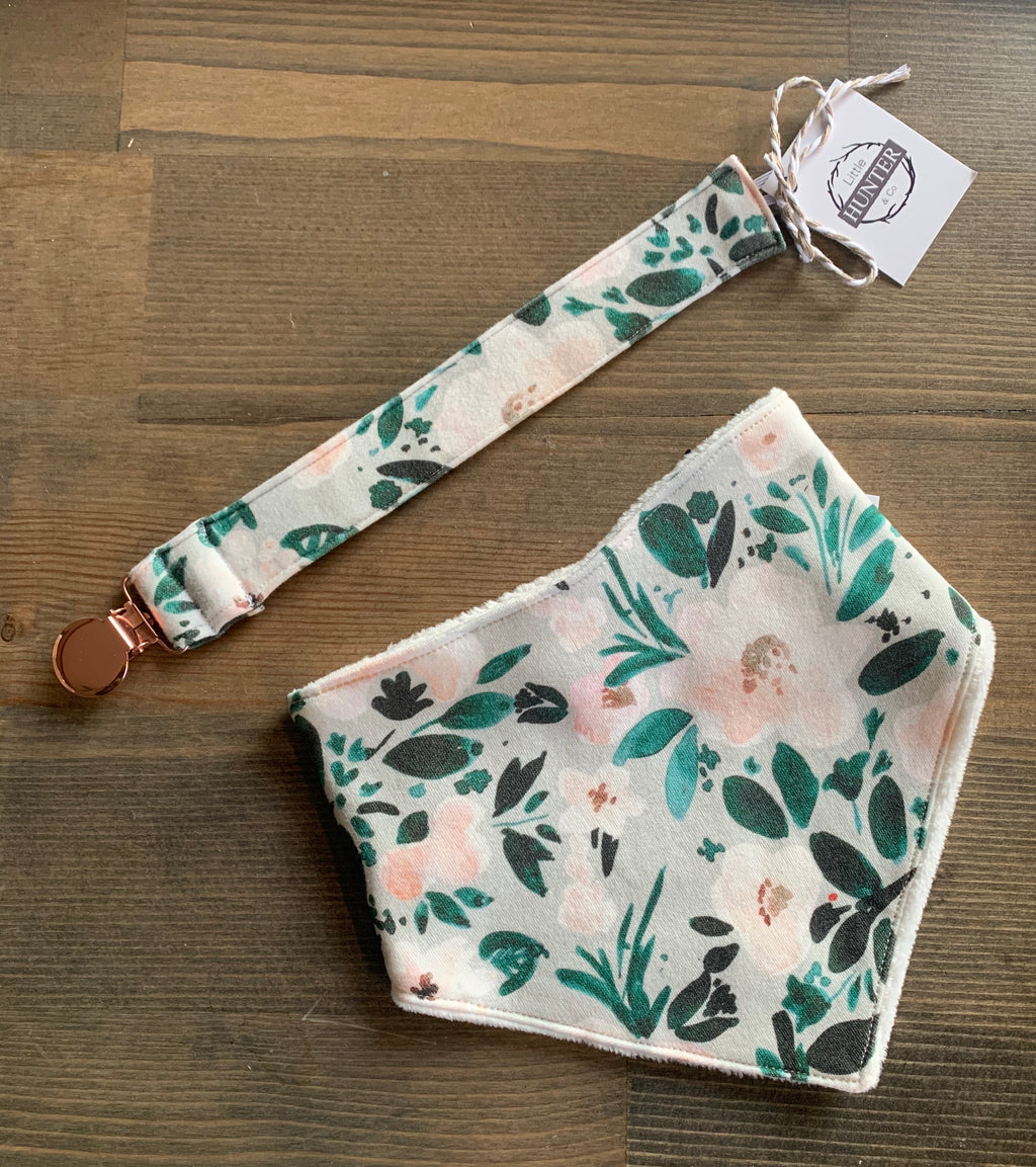 Organic Cotton Bib- Janice Floral, Mint Harvest Blue