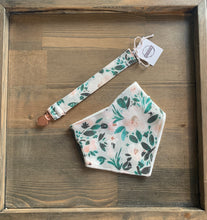 Load image into Gallery viewer, Organic Cotton Bib- Janice Floral, Mint Harvest Blue