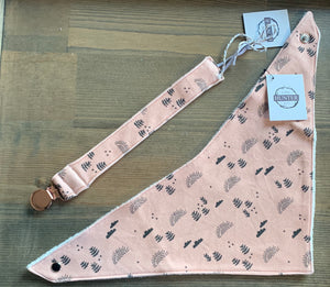 Organic Cotton Bib- Little Sun,Star,Boho Garden in Dusty Pink