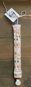 Organic Cotton Soother Clip-Floral Llamas