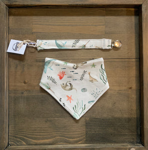 Organic Cotton Bib & Soother Clip- Sea Animals