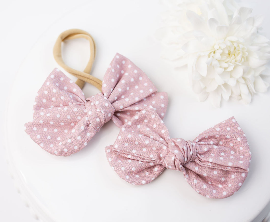 Audrey Bow- Blush Dots