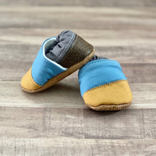 Load image into Gallery viewer, Mustard, Blue, and Gray Angled Moccasins