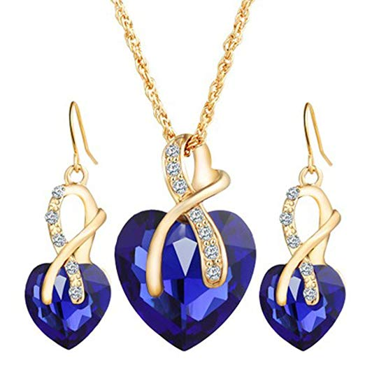 Women Fashion Jewelry Crystal Heart set - Vallisia