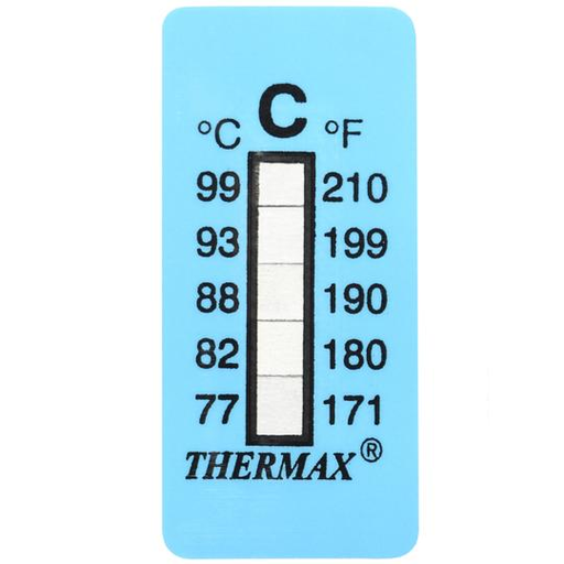 026518 Tempil Thermax 5 Level Strip: 99 deg. F to 120 deg. F / 37 deg. C to 49 deg. C (Pack of 10)