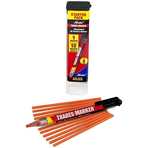 096137 Markal TRADES MARKER Starter Pack (1 Holder, 12 Refills) - Orange - (Case of 6)
