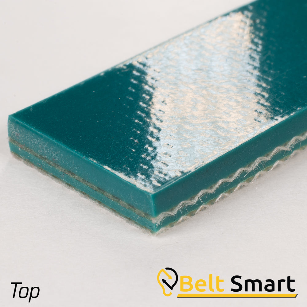 "BS116A - #116A Beltservice E15/2 0/V20AS Blue 2 Ply Poly CR 100 PVC 1/16"" Sticky Top x Bare Conveyor Belt"