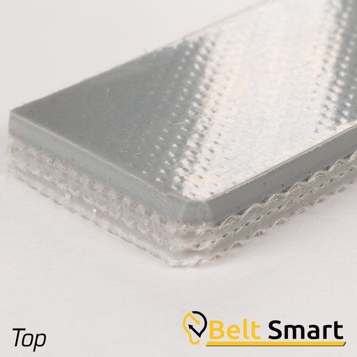 "BS116B - #116B Beltservice E22/3 0/ASV20 Gray 3 Ply CR140 PVC 3/32"" Sticky Top x Bare Conveyor Belt"