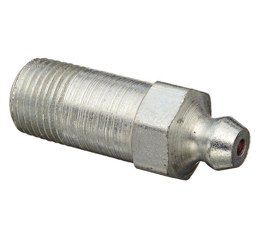 "1607-B Alemite 1/8"" PTF Straight Fitting - Hex Size, 7/16"" - Overall Length, 1-1/4"" - Shank Length, 25/32"""