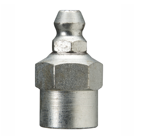"1618-B Alemite 1/8"" PTF Straight Fitting - Hex Size, 1/2"" - Overall Length, 1"" - Shank Length, 9/32"""