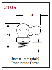 "2105 Alemite Threaded Metric 90 deg. Fitting - Thread, 8 mm x 1 mm - Hex Size, 7 mm - Overall Length, 3/4"" - Shank Length, 7/32"""