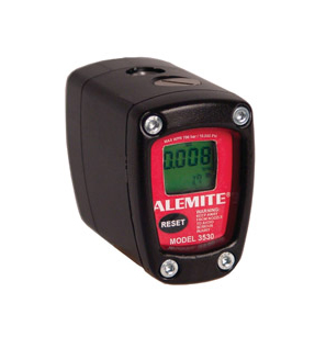 "3530-A Alemite Electronic Grease Meter - Operating Pressure: 10,000 PSI/700 bar - Flow rate: 0.2 - 5.5 lb./minute - Thread sizes: 1/8"" NPTF(f) in and out"